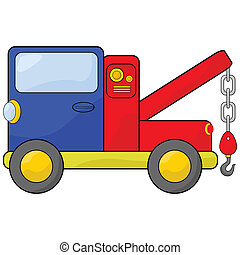 Tow truck - Cartoon illustration of a blue and red tow truck