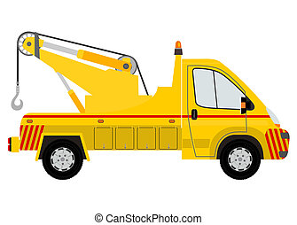 Tow truck silhouette on a white background