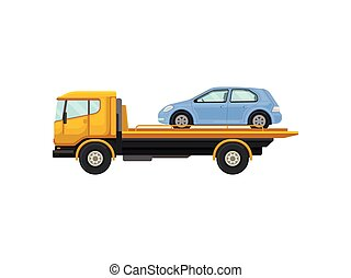 Tow truck drives a blue car. Vector illustration on white background.