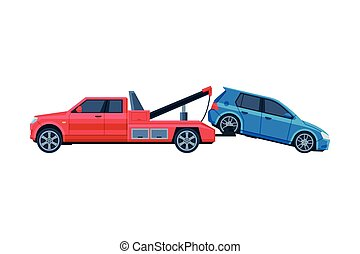 Tow Truck Evacuating Blue Car, Road Accident Flat Vector Illustration on White Background.