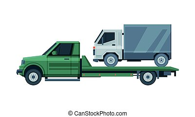 Tow Truck Evacuating Lorry, Road Assistance and Evacuation Service Flat Vector Illustration