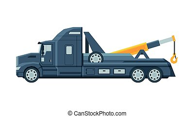 Tow Truck, Evacuation Vehicle, Road Assistance Service Flat Vector Illustration
