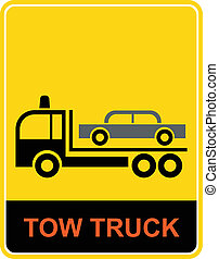 Tow truck - icon - Tow truck - vector sign. Yellow and...