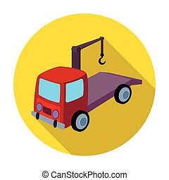 Tow truck icon in flat style isolated on white background. Parking zone symbol stock vector illustration.