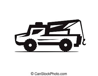 tow truck icon - silhouette of tow truck illustration,...