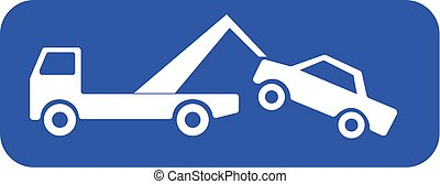 Tow truck lifting a car