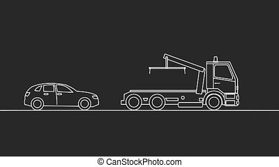Tow truck picking up a vehicle, on black background