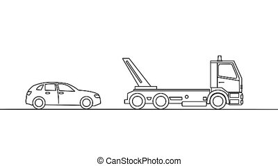 Tow truck picking up a vehicle, on white background