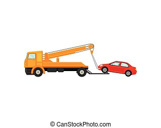 Tow truck pulls a car onto the platform. Vector illustration on white background.