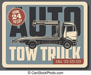 Tow truck retro card of emergency vehicle service
