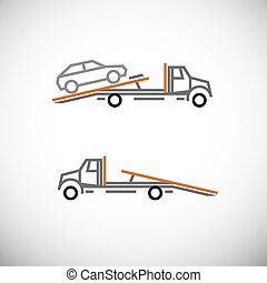 Tow Truck - Roadside assistance car towing truck. Vector...