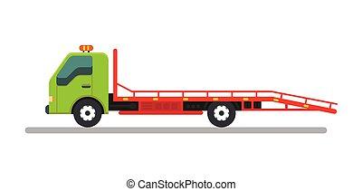 Tow truck service vehicle.Help on road illustration vector illustration.