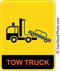 Tow truck - sign - Tow truck - vector icon. Yellow and...