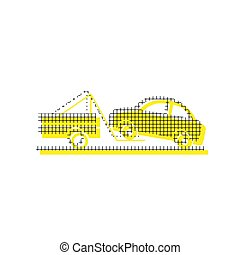 Tow truck sign. Vector. Yellow icon with square pattern duplicat