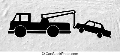 tow truck - Sign wth car being towed away by a truck