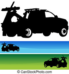 Tow Truck Silhouette Banner Set - An image of a tow truck...