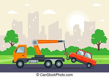 tow truck towing a car in the city.