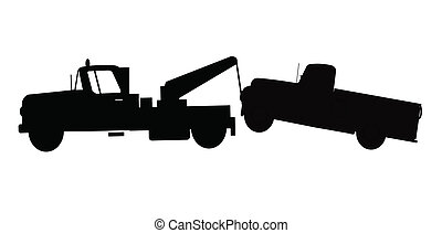 tow truck towing truck - pick up truck being towed in...