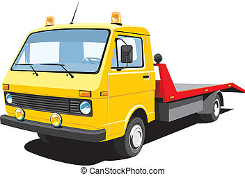 Vector isolated tow truck on white background, without gradients EPS8 format.