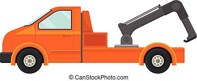 Tow truck with a crane. Vector illustration on white background.