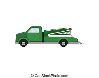 Tow truck with a platform. Vector illustration on white background.