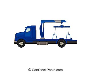 Tow truck with a rope. Vector illustration on white background.