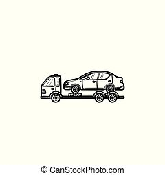 Tow truck with broken car hand drawn outline doodle icon.