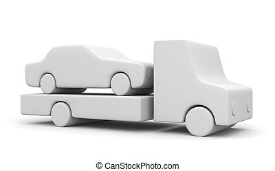 Tow truck with car - Transportation concept. Isolated on...