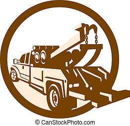 Tow Truck Wrecker Rear Retro - Illustration of a tow wrecker...