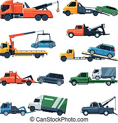 Tow Trucks Set, Evacuation Vehicles Transporting Cars, Road Assistance Service Flat Vector Illustration