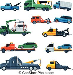 Tow Trucks Set, Evacuation Vehicles Transporting Cars, Road Assistance Service, Side View Flat Vector Illustration