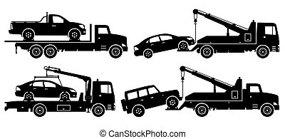 Tow trucks silhouette vector illustration with side view