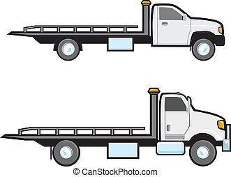 Two different types of common American flatbed tow trucks.