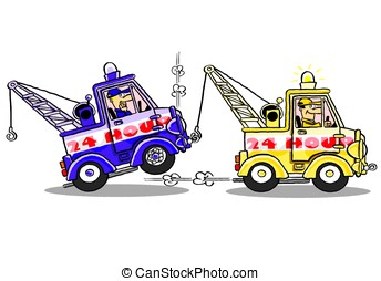 Tow trucks.WBG. - One tow truck rescuing another broken down...