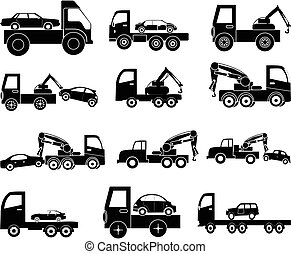 Tow vehicle icons set - Tow vehicle vector icons set in...