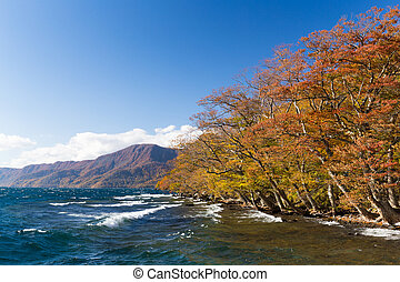 Towada Lake in autumn season
