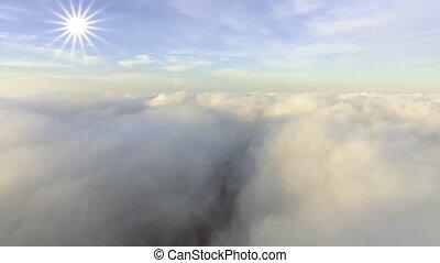 towards, антенна, солнце, выше, clouds, посмотреть