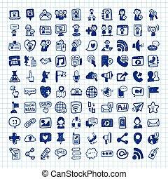 towarzyski, doodle, media, ikony