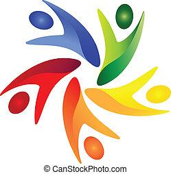 towarzyski, logo, wektor, teamwork, ludzie