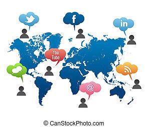 towarzyski, media, światowa mapa, wektor