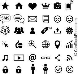 towarzyski, media, płaski, icon., znaki, towarzyski, networks.