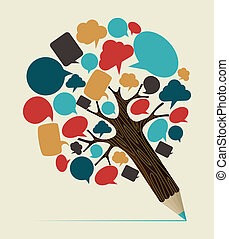 towarzyski, media, pojęcie, drzewo, ołówek