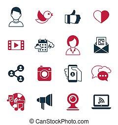 towarzyski, media, wektor, komunikacja, cyfrowy