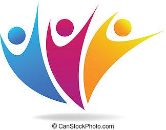 towarzyski, media, wektor, logo, ludzie