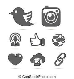 towarzyski, sieć, ikony, odizolowany, na, white., wektor