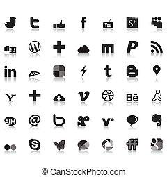 towarzyski, sieć, ikony