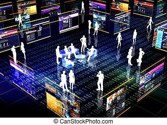towarzyski, sieć, online, współposiadanie