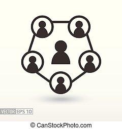 towarzyski, sieć, płaski, icon., znak, teamwork