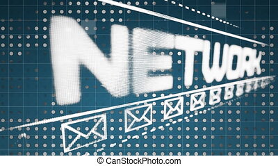 towarzyski, tło, ikona, koperta, sieć, błękitny, graficzny