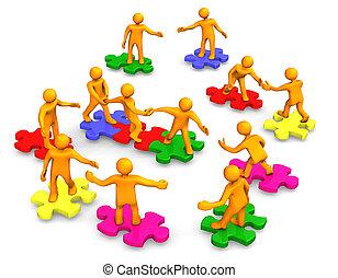 towarzystwo, teamwork, handlowy